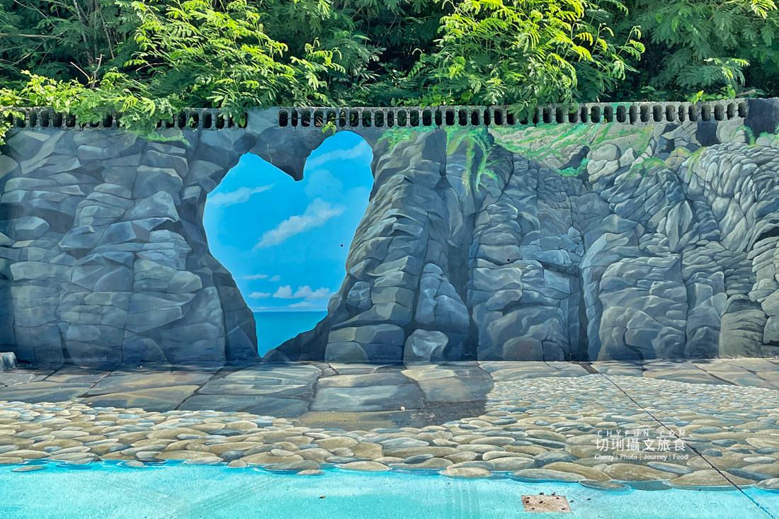外垵海賊洞28-3D彩繪13140顆石頭拍照打卡新景點 澎湖 外垵海賊洞美麗的傳說愛心岩洞板狀裂岩,退潮來賞石觀浪獨享靜謐地